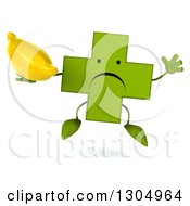Clipart Of A 3d Unhappy Green Naturopathic Cross Character Facing Jumping And Holding A Banana Royalty Free Illustration