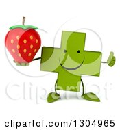 Clipart Of A 3d Happy Green Naturopathic Cross Character Holding A Strawberry And Thumb Up Royalty Free Illustration