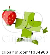 Clipart Of A 3d Happy Green Naturopathic Cross Character Shrugging And Holding A Strawberry Royalty Free Illustration