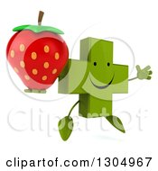Clipart Of A 3d Happy Green Naturopathic Cross Character Facing Slightly Right Jumping And Holding A Strawberry Royalty Free Illustration
