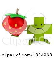 Clipart Of A 3d Unhappy Green Naturopathic Cross Character Holding Up A Strawberry Royalty Free Illustration