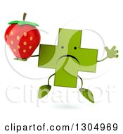 Clipart Of A 3d Unhappy Green Naturopathic Cross Character Jumping And Holding A Strawberry Royalty Free Illustration