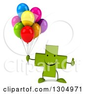 Clipart Of A 3d Happy Green Naturopathic Cross Character Giving A Thumb Up And Holding Party Balloons Royalty Free Illustration