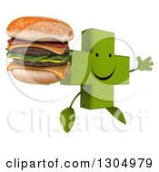 Clipart Of A 3d Happy Green Naturopathic Cross Character Facing Slightly Right Jumping And Holding A Double Cheeseburger Royalty Free Illustration