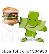 Clipart Of A 3d Happy Green Naturopathic Cross Character Holding And Pointing To A Double Cheeseburger Royalty Free Illustration