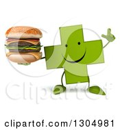 Clipart Of A 3d Happy Green Naturopathic Cross Character Holding Up A Finger And A Double Cheeseburger Royalty Free Illustration
