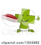 Clipart Of A 3d Happy Green Naturopathic Cross Character Holding A Thumb Up And A Beef Steak Royalty Free Illustration