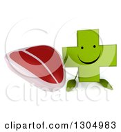 Clipart Of A 3d Happy Green Naturopathic Cross Character Holding Up A Beef Steak Royalty Free Illustration