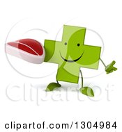 Clipart Of A 3d Happy Green Naturopathic Cross Character Shrugging And Holding A Beef Steak Royalty Free Illustration