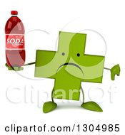 Clipart Of A 3d Unhappy Green Naturopathic Cross Character Holding A Thumb Down And A Soda Bottle Royalty Free Illustration