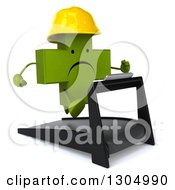 Clipart Of A 3d Unhappy Green Contractor Naturopathic Cross Character Facing Slightly Right Holding Plans And Running On A Treadmill Royalty Free Illustration