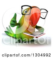 Clipart Of A 3d Bespectacled Green Macaw Parrot Reading A Book And Giving A Thumb Up Royalty Free Illustration