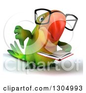 Clipart Of A 3d Bespectacled Green Macaw Parrot Reading A Book And Giving A Thumb Down Royalty Free Illustration by Julos