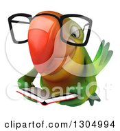 Clipart Of A 3d Bespectacled Green Macaw Parrot Flying And Reading A Book Royalty Free Illustration