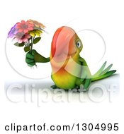 Clipart Of A 3d Green Macaw Parrot Holding A Bouquet Of Flowers Royalty Free Illustration by Julos