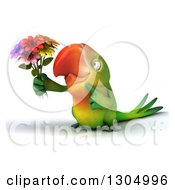 Clipart Of A 3d Green Macaw Parrot Holding And Pointing To A Bouquet Of Flowers Royalty Free Illustration
