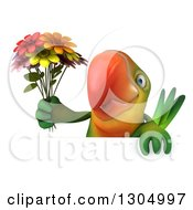 Clipart Of A 3d Green Macaw Parrot Holding A Bouquet Of Flowers Over A Flower Royalty Free Illustration