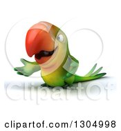 Clipart Of A 3d Green Macaw Parrot Presenting Royalty Free Illustration by Julos
