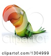 Clipart Of A 3d Green Macaw Parrot Facing Left Royalty Free Illustration by Julos