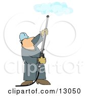 Man Using A Power Washer To Clean A Ceiling Clipart Illustration