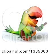 Clipart Of A 3d Green Macaw Parrot Facing Right Playing A Guitar And Singing Royalty Free Illustration by Julos