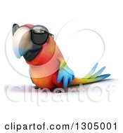 Clipart Of A 3d Scarlet Macaw Parrot Wearing Sunglasses And Facing Left Royalty Free Illustration