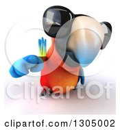 Clipart Of A 3d Scarlet Macaw Parrot Wearing Sunglasses And Pointing Outwards Royalty Free Illustration