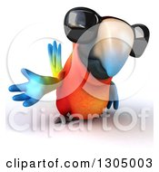 Clipart Of A 3d Scarlet Macaw Parrot Wearing Sunglasses And Presenting Royalty Free Illustration by Julos