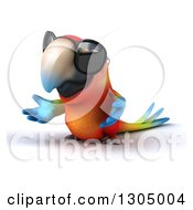 Clipart Of A 3d Scarlet Macaw Parrot Wearing Sunglasses And Presenting To The Left Royalty Free Illustration
