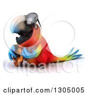 Clipart Of A 3d Scarlet Macaw Parrot Wearing Sunglasses Facing Left And Playing A Guitar Royalty Free Illustration