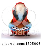 Clipart Of A 3d Scarlet Macaw Parrot Reading A Book Royalty Free Illustration