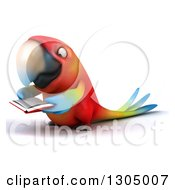 Clipart Of A 3d Scarlet Macaw Parrot Facing Left And Reading A Book Royalty Free Illustration