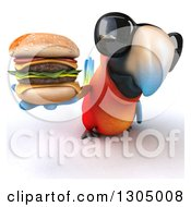 Clipart Of A 3d Scarlet Macaw Parrot Wearing Sunglasses And Holding Up A Double Cheeseburger Royalty Free Illustration