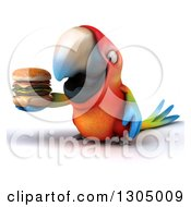 Clipart Of A 3d Scarlet Macaw Parrot Holding A Double Cheeseburger Royalty Free Illustration by Julos