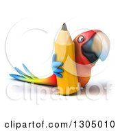 Clipart Of A 3d Scarlet Macaw Parrot Facing Right And Holding A Pencil Royalty Free Illustration