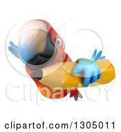 Clipart Of A 3d Scarlet Macaw Parrot Flying With A Pencil Royalty Free Illustration