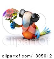 Clipart Of A 3d Scarlet Macaw Parrot Wearing Sunglasses And Holding Up Flowers Royalty Free Illustration by Julos