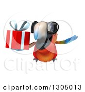 Clipart Of A 3d Scarlet Macaw Parrot Wearing Sunglasses And Flying With A Gift Royalty Free Illustration