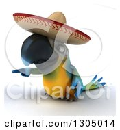 Clipart Of A 3d Blue And Yellow Mexican Macaw Parrot Pointing To The Left Royalty Free Illustration