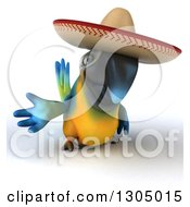 Clipart Of A 3d Blue And Yellow Mexican Macaw Parrot Presenting Royalty Free Illustration