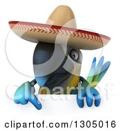Clipart Of A 3d Blue And Yellow Mexican Macaw Parrot Pointing Down Over A Sign Royalty Free Illustration