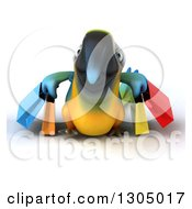 Clipart Of A 3d Blue And Yellow Macaw Parrot Carrying Shopping Bags Royalty Free Illustration by Julos