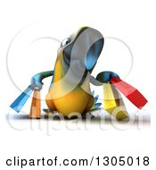Clipart Of A 3d Blue And Yellow Macaw Parrot Walking And Carrying Shopping Bags Royalty Free Illustration