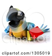 Clipart Of A 3d Blue And Yellow Macaw Parrot Wearing Sunglasses Facing Left Walking And Carrying Shopping Bags Royalty Free Illustration