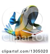 Clipart Of A 3d Blue And Yellow Macaw Parrot Reading A Book And Giving A Thumb Up Royalty Free Illustration
