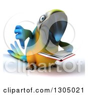 Clipart Of A 3d Blue And Yellow Macaw Parrot Reading A Book And Giving A Thumb Down Royalty Free Illustration