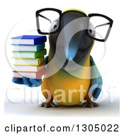 Clipart Of A 3d Bespectacled Blue And Yellow Macaw Parrot Holding A Stack Of Books Royalty Free Illustration