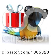 Clipart Of A 3d Blue And Yellow Macaw Parrot Wearing Sunglasses And Holding A Gift Royalty Free Illustration by Julos