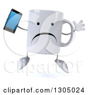 Clipart Of A 3d Unhappy Coffee Mug Character Jumping And Holding A Smart Cell Phone Royalty Free Illustration