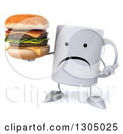 Clipart Of A 3d Unhappy Coffee Mug Character Shrugging And Holding A Double Cheeseburger Royalty Free Illustration